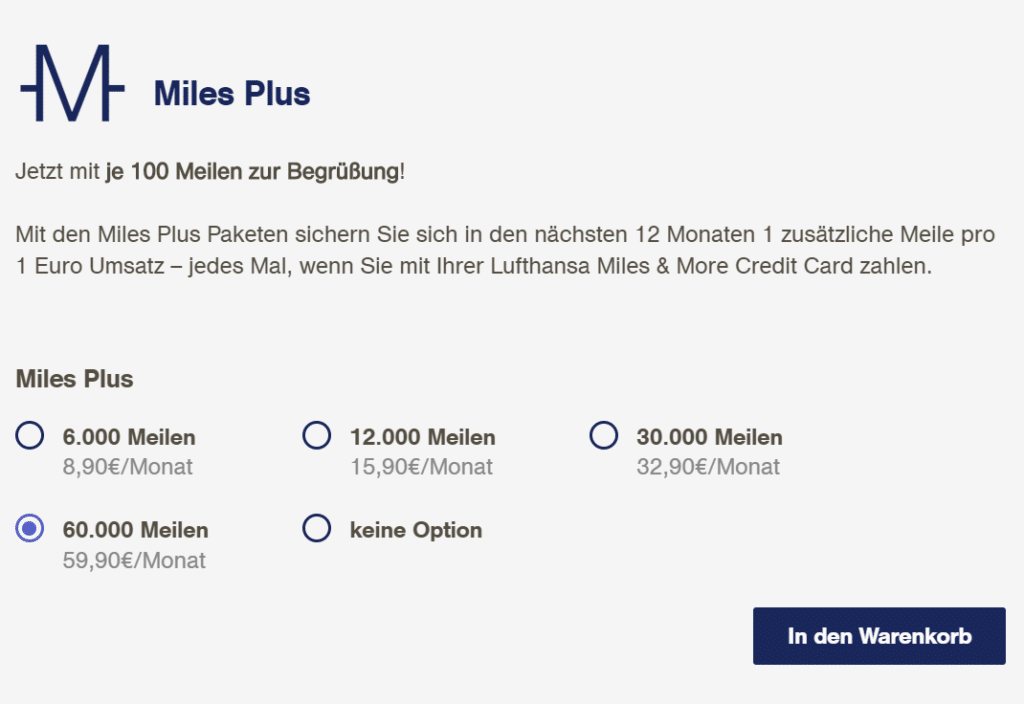 Zusatzpakete Miles & More Kreditkarte Miles Plus