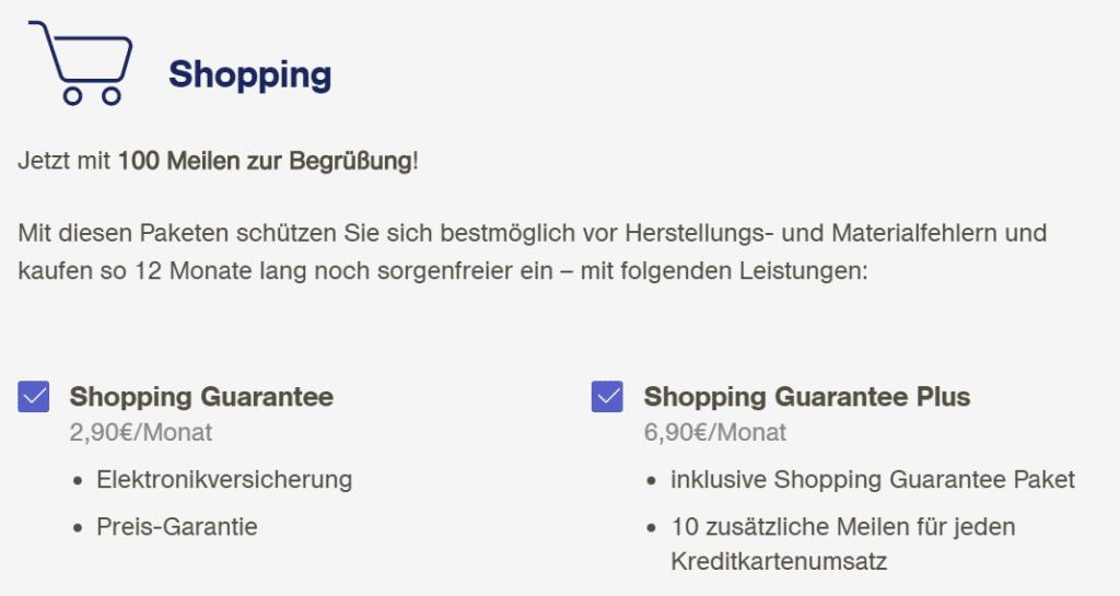 Zusatzpakete Miles & More Kreditkarte Shopping