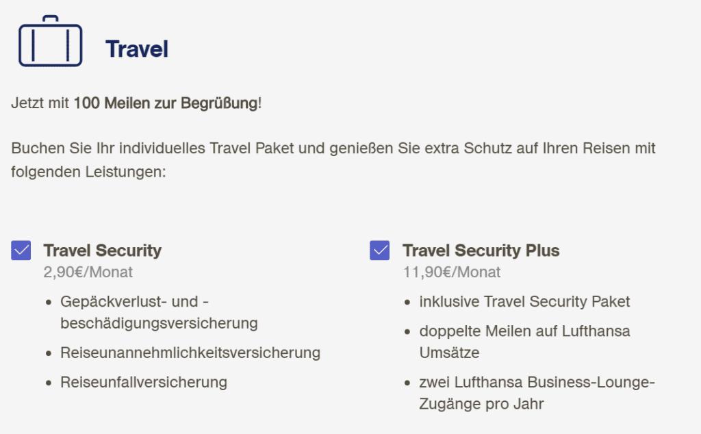 Zusatzpakete Miles & More Kreditkarte Travel