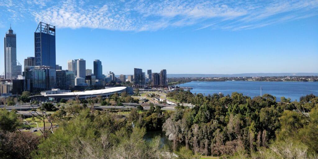Perth Skyline Botanischer Garten