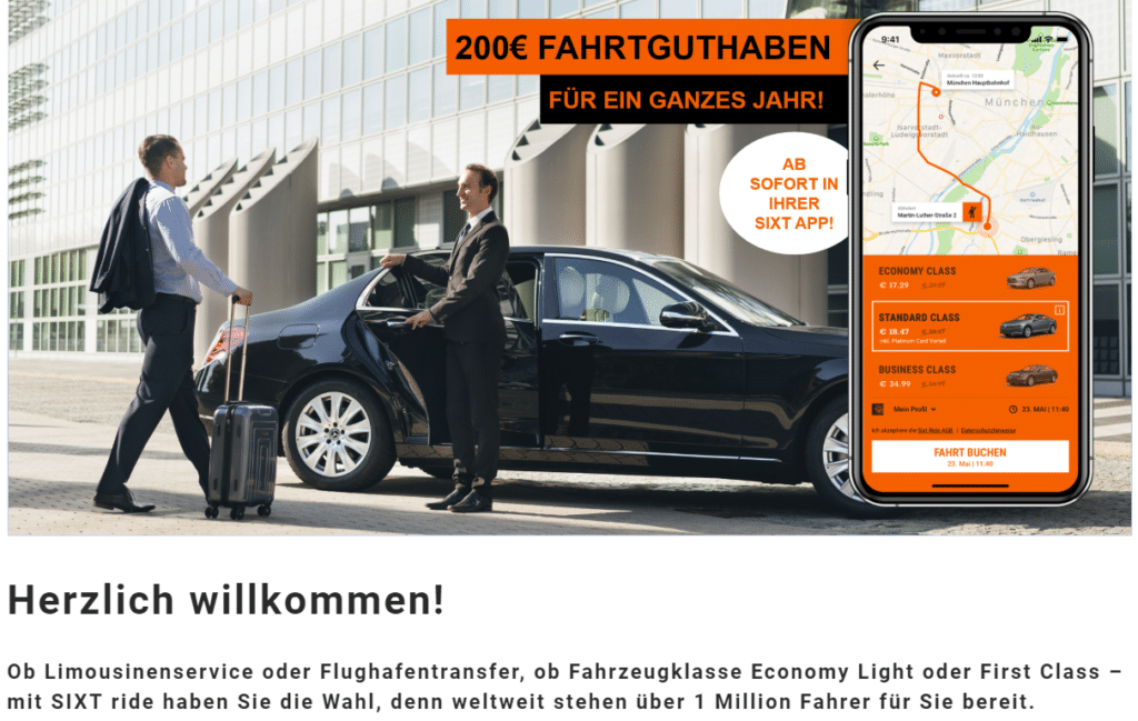 Sixt Ride Willkommensmail