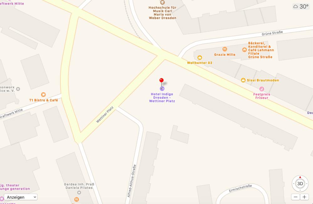 Maps Hotel Indigo Dresden