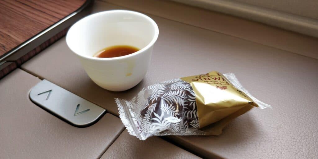 Qatar Airways First Class Airbus A380 Arabischer Kaffee