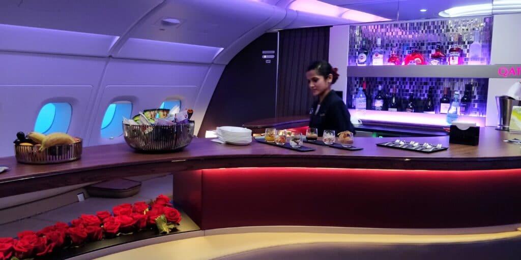 Qatar Airways First Class Airbus A380 Bar