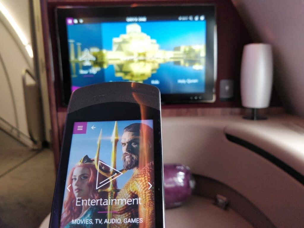 Qatar Airways First Class Airbus A380 Entertainment