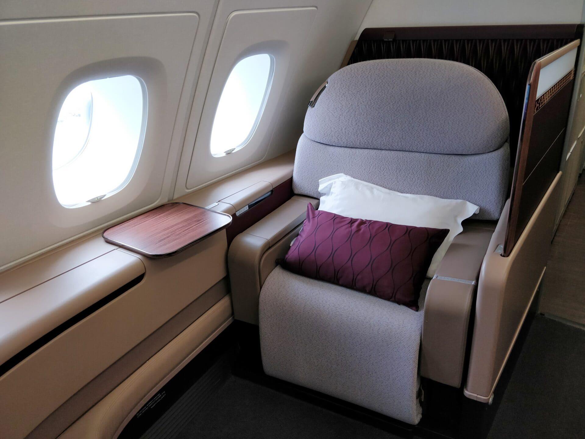 Qatar Airways First Class Airbus A380 Sitz 5