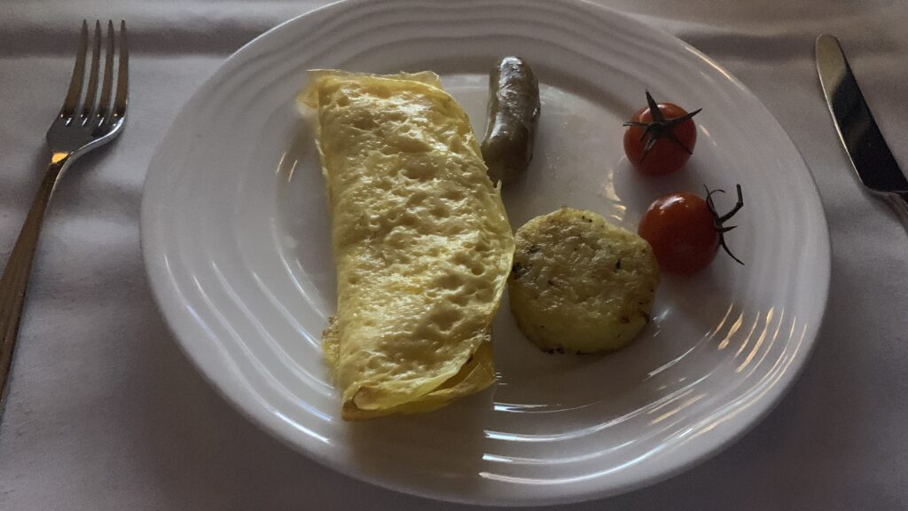 Emirates First Class Airbus A380 Omelette