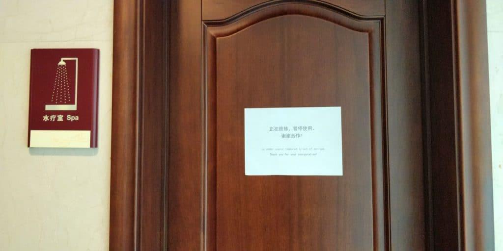 Business Class Lounge Dalian Dusche