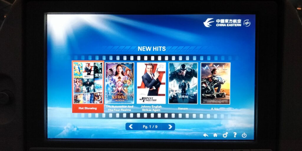 China Eastern Economy Class Langstrecke Entertainment 2