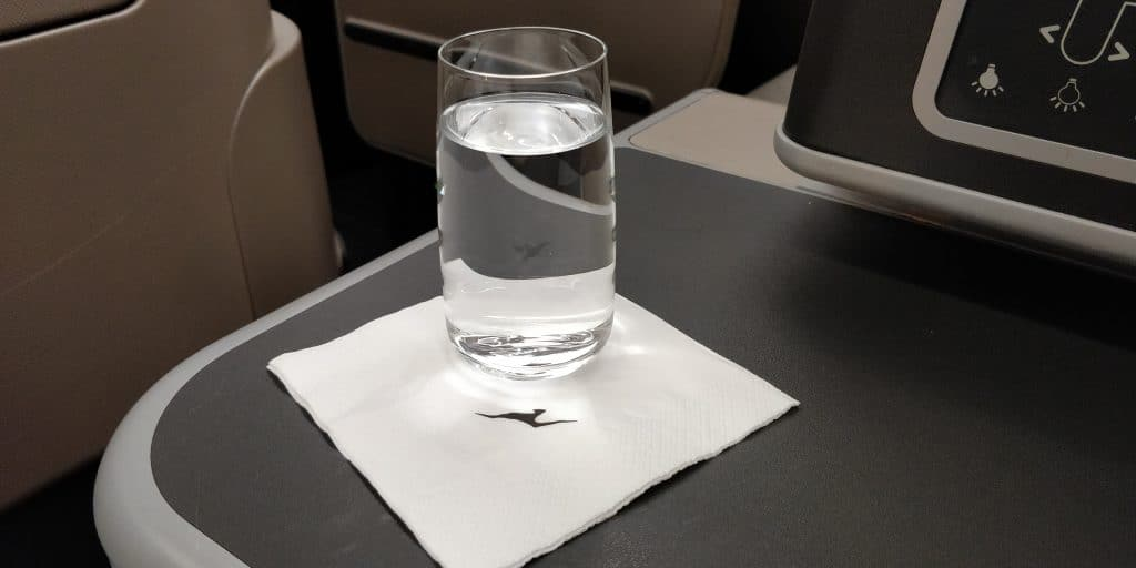 Qantas Business Class Airbus A330 Welcome Drink