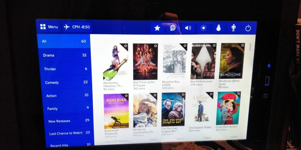 SAS Business Class Airbus A340 Entertainment 5