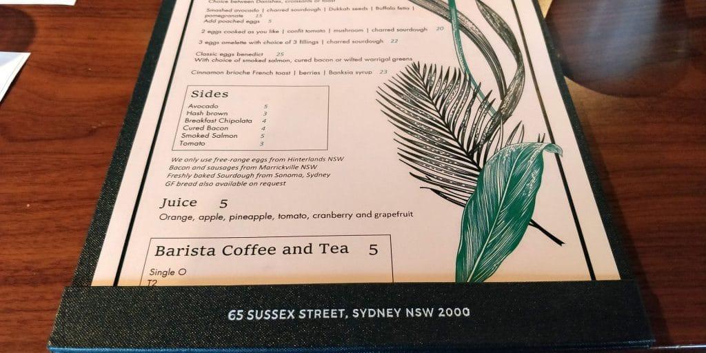 West Hotel Sydney Menu 2