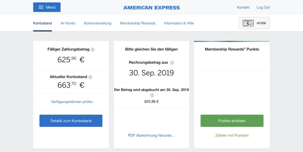 Amex Platinum Online Konto