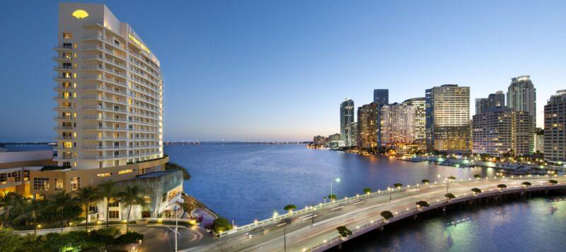 Miami Exterior To Downtown Via Brickell Key Bridge