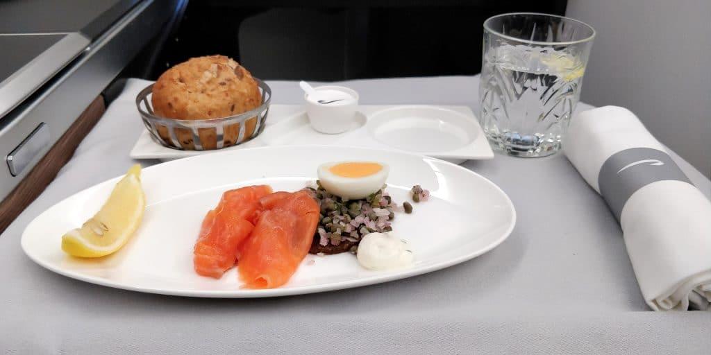 British Airways Business Class Airbus A350 Abendessen