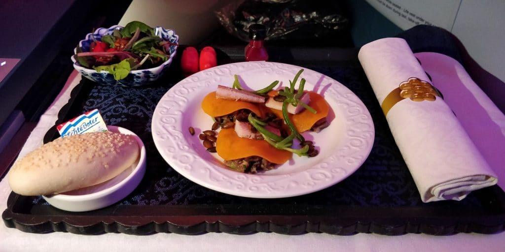 KLM Business Class Boeing 787 Dinner
