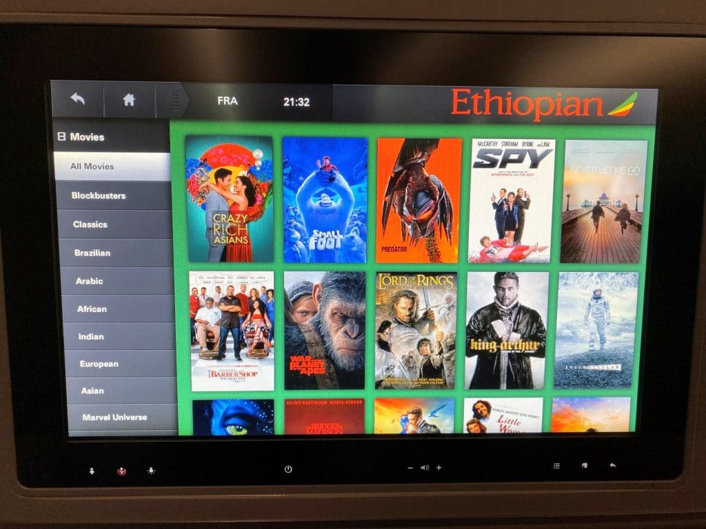 Ethiopian Airlines Business Class Airbus A350 Entertainment