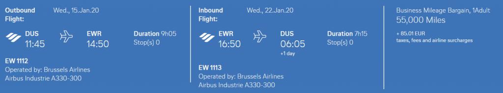 Eurowings Meilenschnäppchen Beispiel