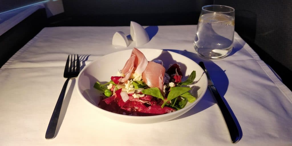 Virgin Australia Business Class Airbus A330 Abendessen 2