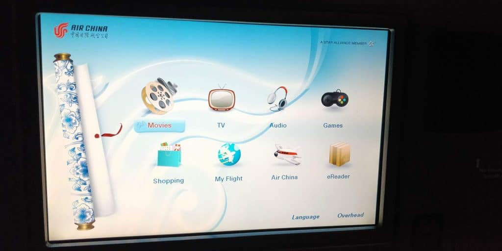 Air China Business Class Boeing 777 Entertainment 2