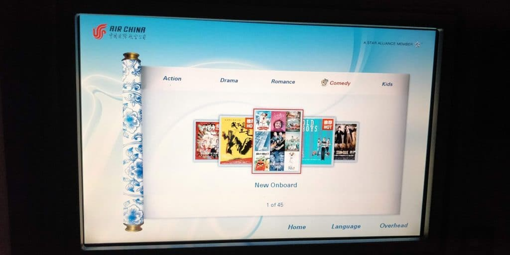 Air China Business Class Boeing 777 Entertainment 4