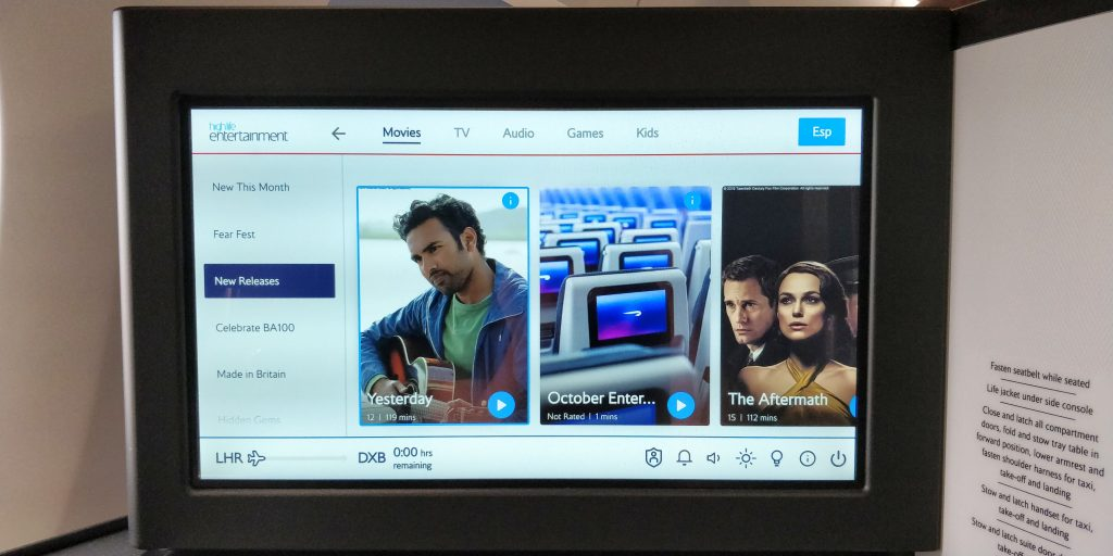 British Airways Business Class Airbus A350 Entertainment