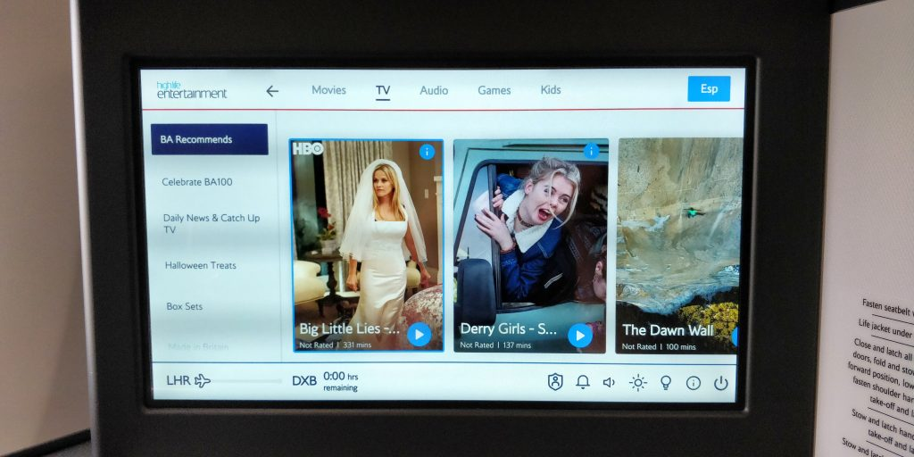 British Airways Business Class Airbus A350 Entertainment 2