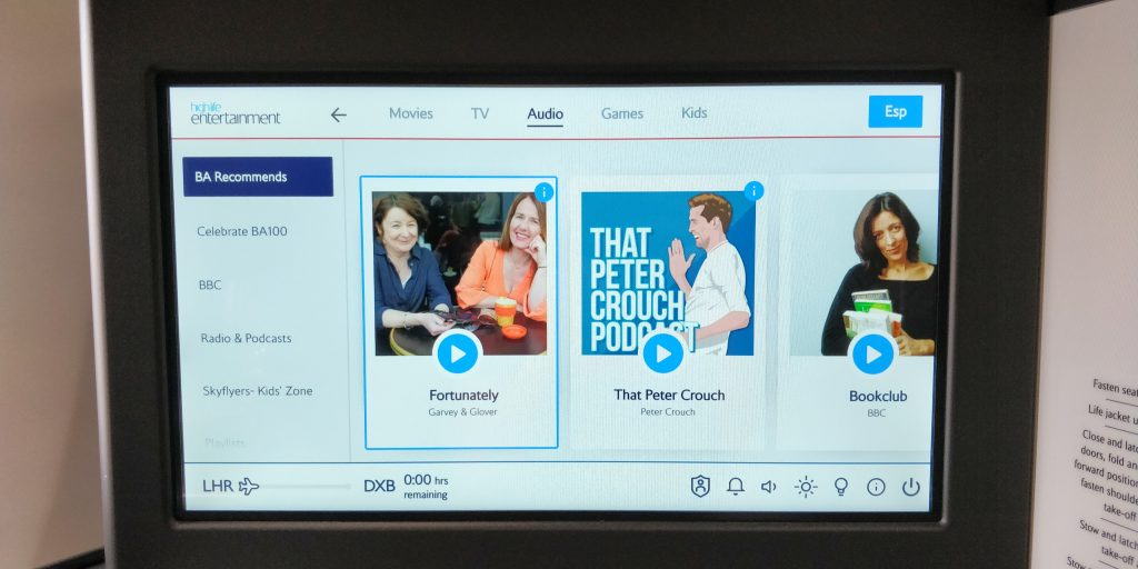 British Airways Business Class Airbus A350 Entertainment 3