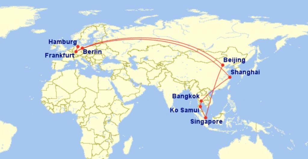 GCMap Asien Reise Air China Koh Samui