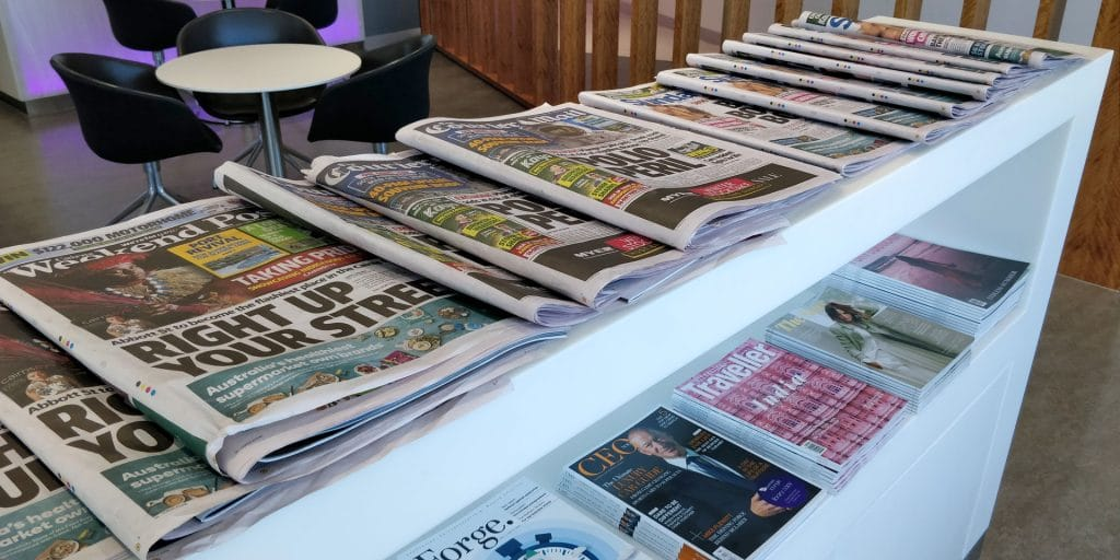 Virgin Australia Lounge Cairns Zeitungen