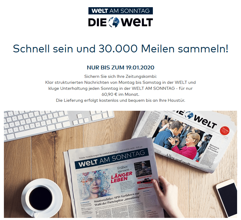 WELT Abo Miles and More