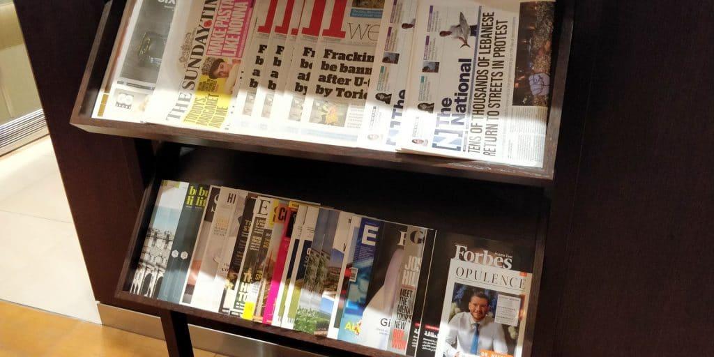British Airways Lounge Dubai Zeitungen