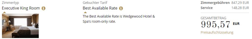 Wedgewood Hotel Und Spa Executive King Zimmer