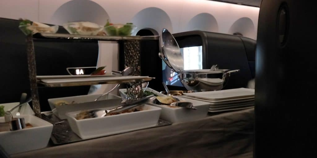 Turkish Airlines Business Class Boeing 787 Abendessen