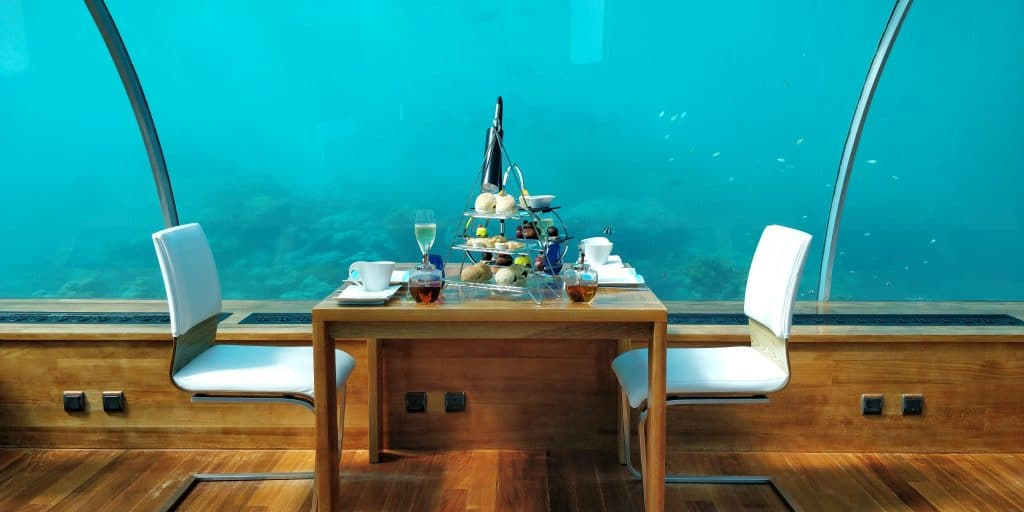 Conrad Maldives Rangali Island Ithaa Restaurant Afternoon Tea