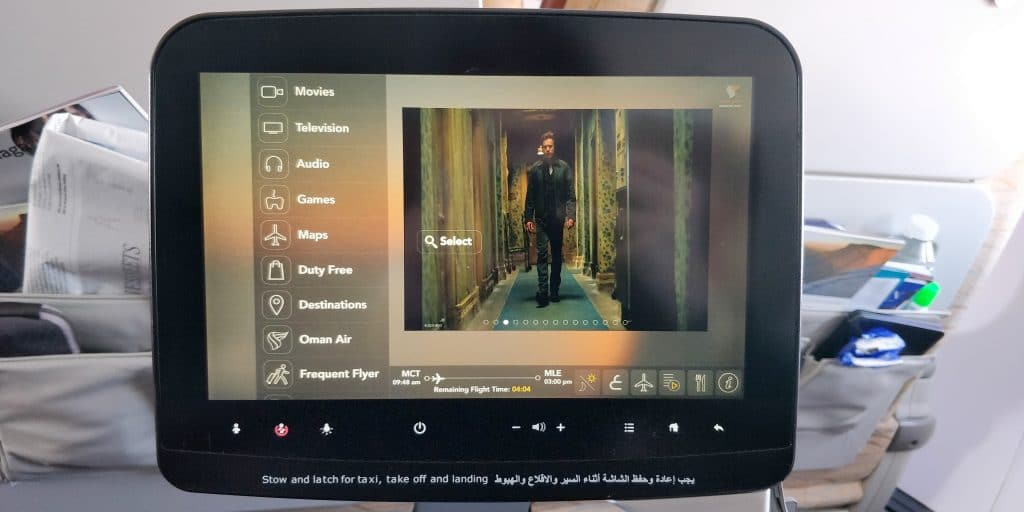 Oman Air Business Class Boeing 737 Entertainment
