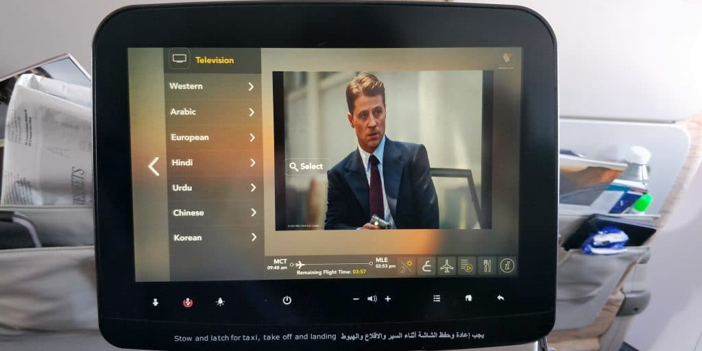 Oman Air Business Class Boeing 737 Entertainment 4