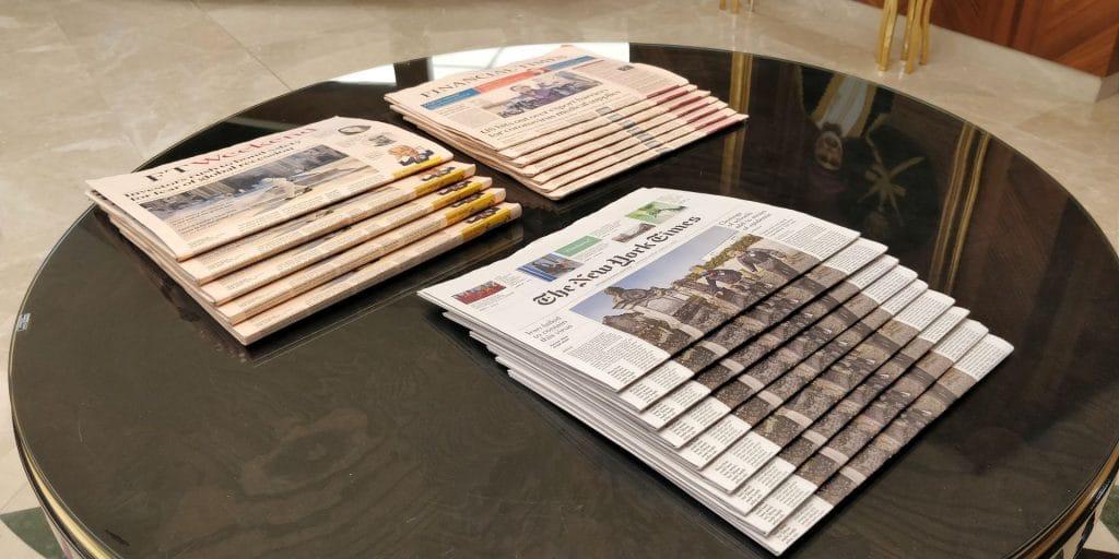 Primeclass Lounge Maskat Zeitungen