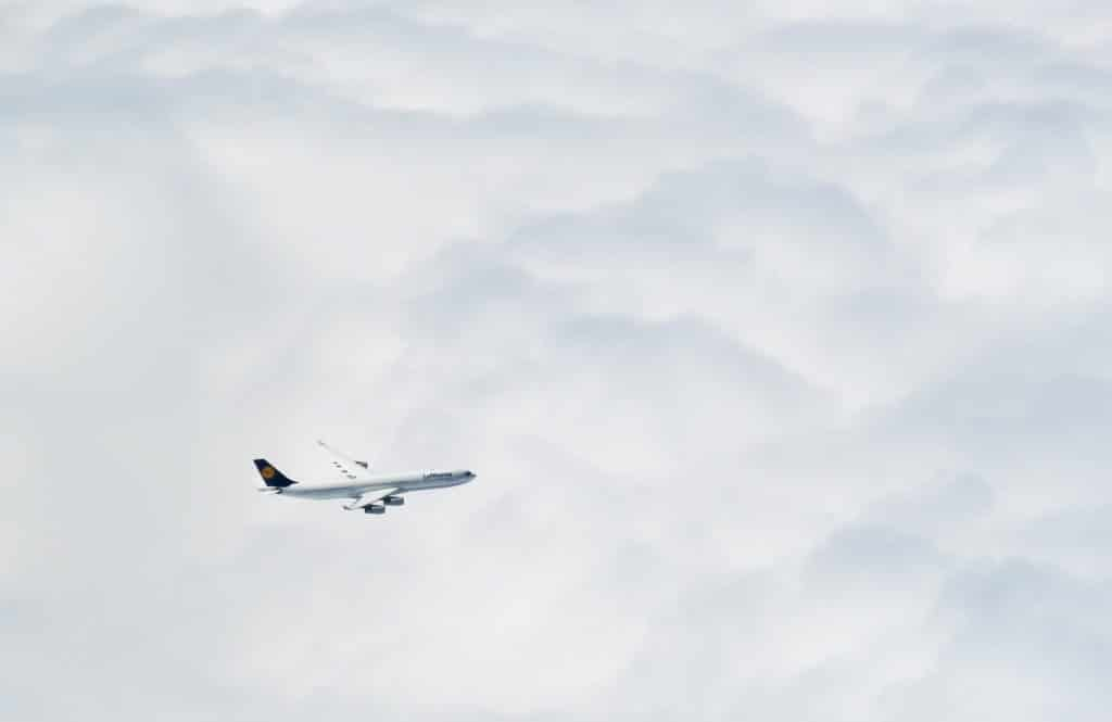 Lufthansa Airplane In Sky