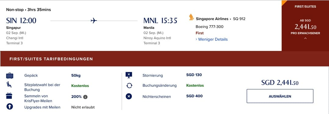 Singapore Airlines First Class Booking