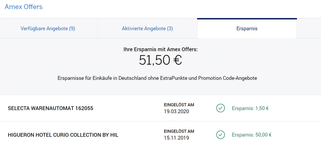 Amex Offers Ersparnis
