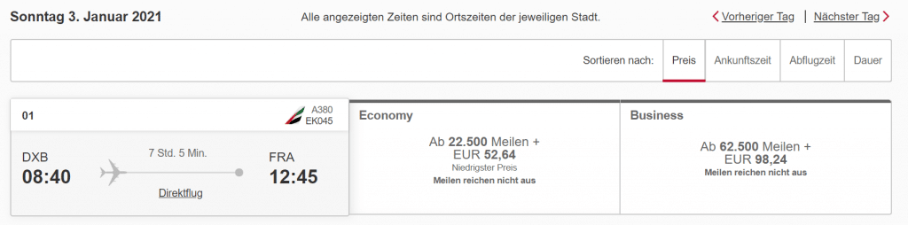 Emirates Economy Class DXB FRA