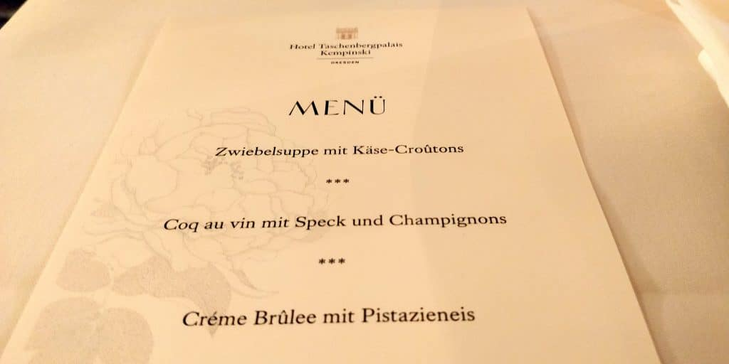 Hotel Taschenbergpalais Kempinski Dresden Abendessen Menü