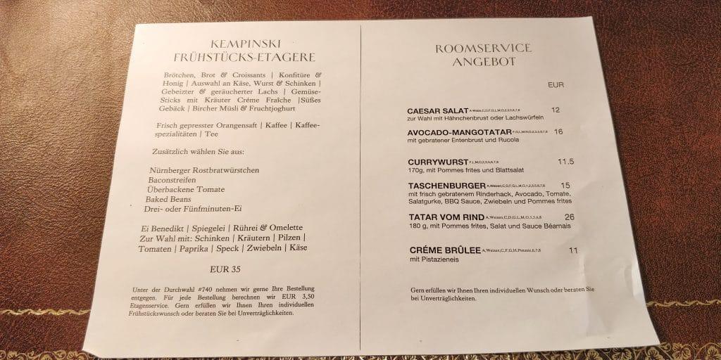 Hotel Taschenbergpalais Kempinski Dresden Room Service Karte