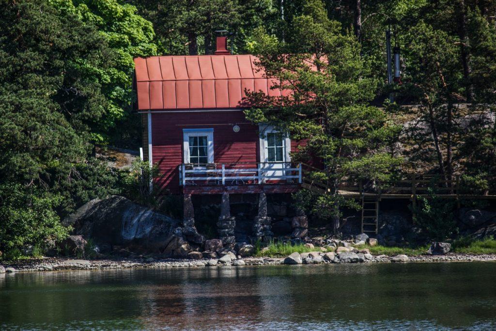 Finnland Wasser Sommerhaus Wald