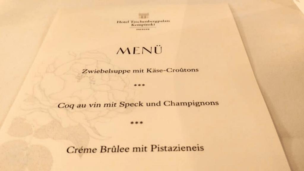 Hotel Taschenbergpalais Dresden Abendessen Menü