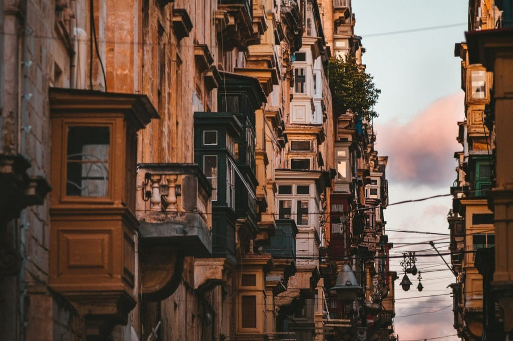 Malta Stadt Häuser Nahaufnaheme