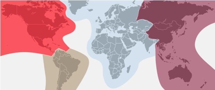 Aeroplan vier Weltzonen