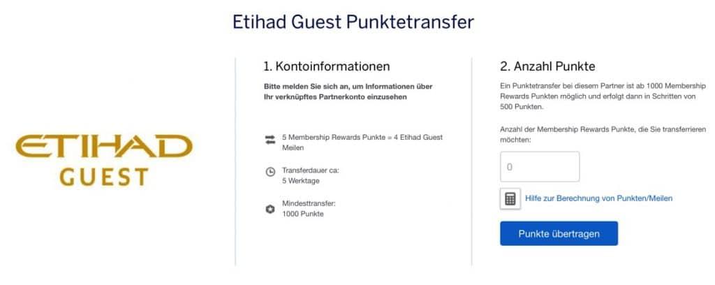 Amex Punktetransfer Etihad Guest Miles