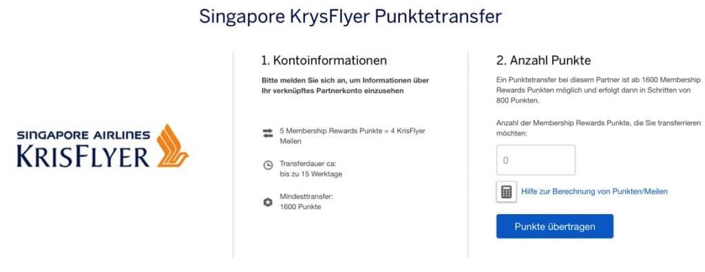 Amex Punktetransfer KrisFlyer